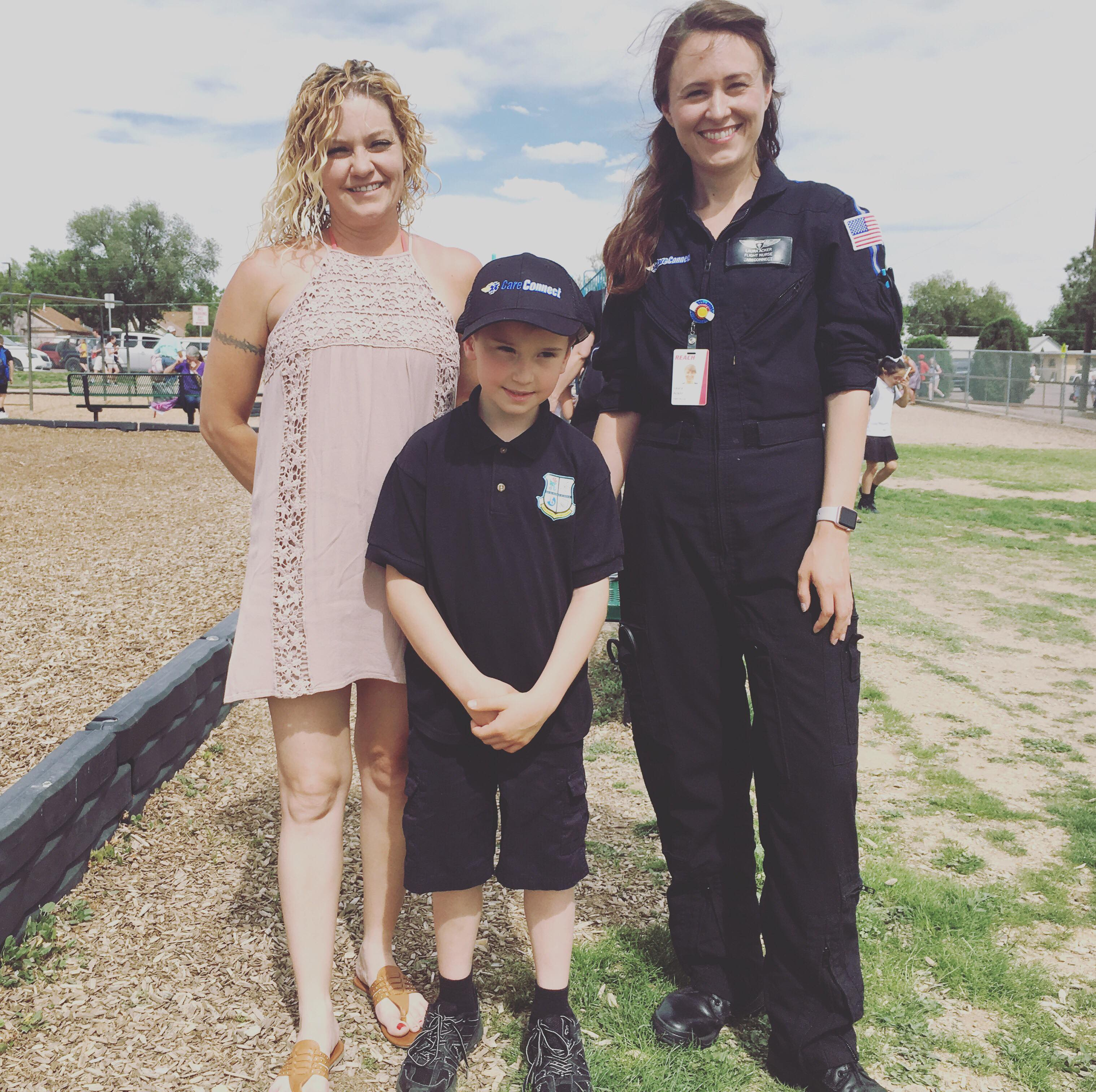 Tracy and Matthew Sands with CareConnect Flight Nurse, Laura Acker.