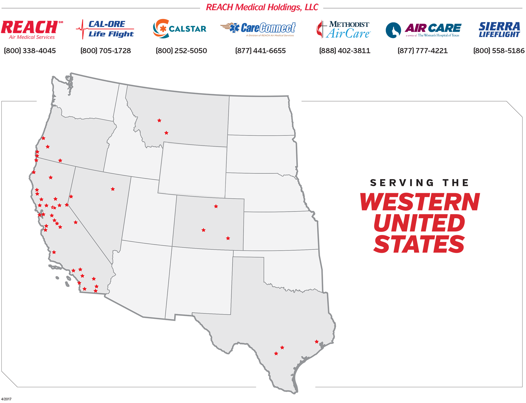This map shows the location of all REACH, Cal-Ore, CALSTAR, CareConnect, Methodist AirCare, Sierra Lifeflight, and Woman's Air Care base locations.