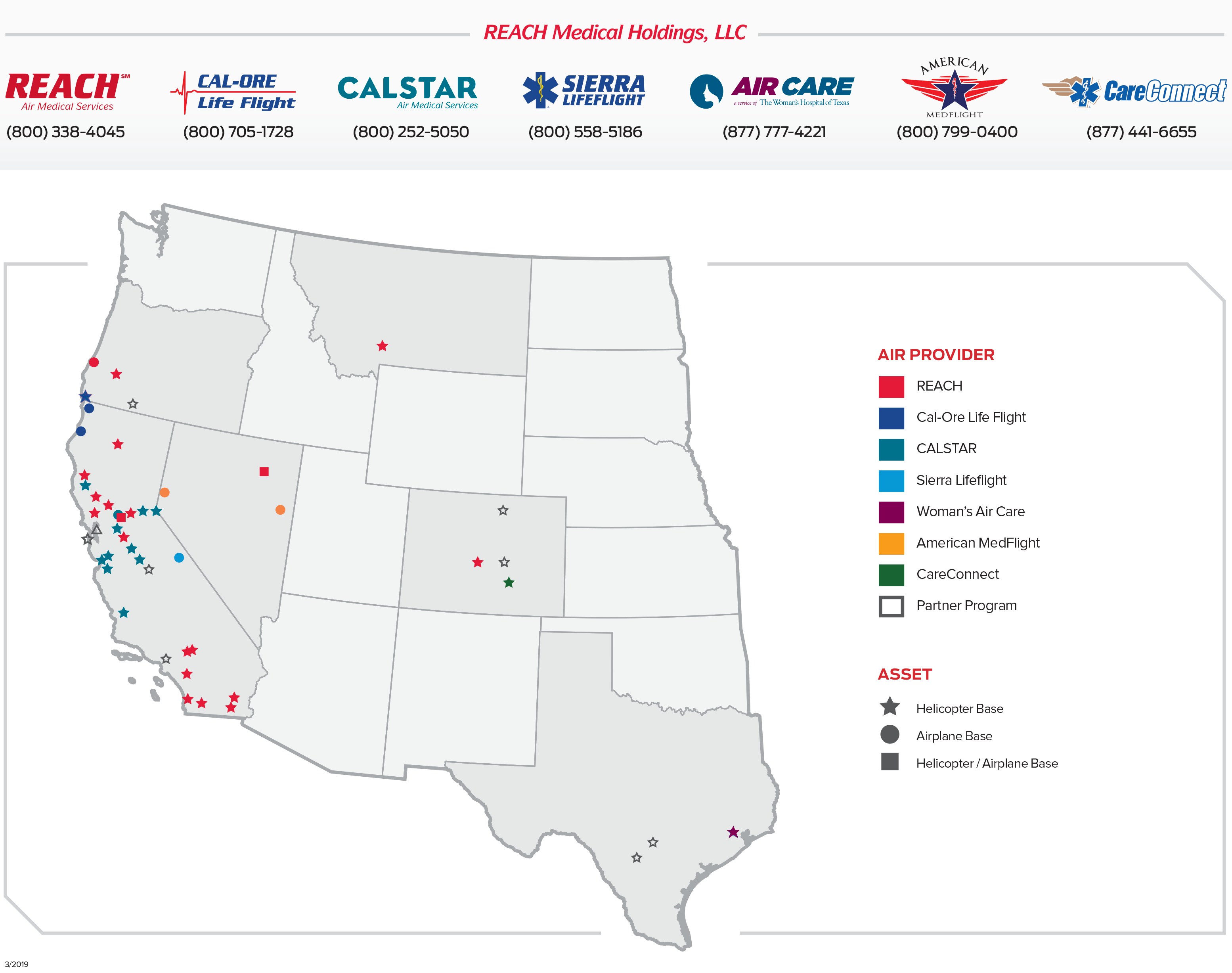 REACH Air Medical Services Base Map and Locations